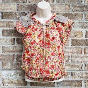 Anthro》Tiny》Silk Blend Floral Popover Blouse